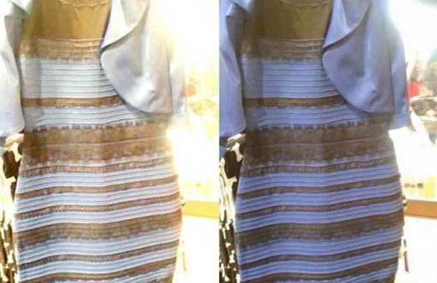 bu elbise mavi mi, beyaz mı