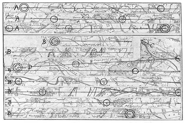 Alfred Watkins'in Ley Haritası (İngiltere) Alfred Watkins (1855-1935) - Erken İngiliz Yolları, Moats, Höyükler, Kamplar ve Siteler (1922) (Görsel Kaynak: Vikipedi)